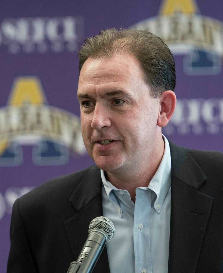 Men's basketball head coach Will Brown speaks at the press day for the University at Albany Basketball team held on campus Thursday Oct. 12, 2017 in Albany,  (Skip Dickstein/Times Union) Photo: SKIP DICKSTEIN / 20041826A