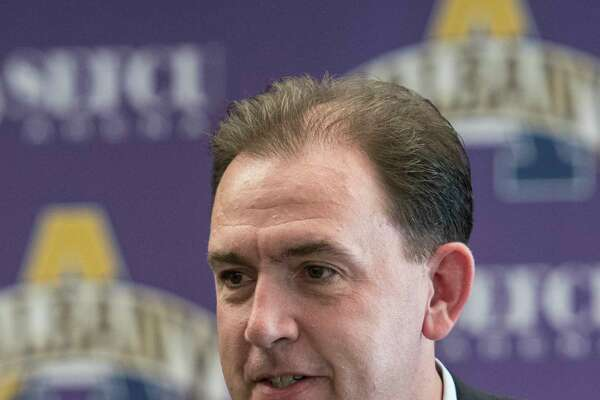 Men's basketball head coach Will Brown speaks at the press day for the University at Albany Basketball team held on campus Thursday Oct. 12, 2017 in Albany,  (Skip Dickstein/Times Union)