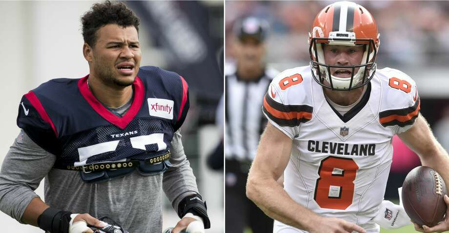 They were teammates and friends on a Stanford team that won a Rose Bowl, but Texans outside linebacker Brennan Scarlett and Cleveland Browns quarterback Kevin Hogan will be enemies making the first starts of their NFL careers Sunday at NRG Stadium. Photo: AP/Getty