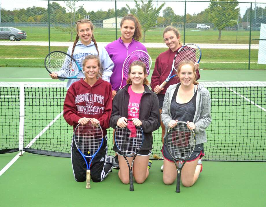 Members of the Metro-East Lutheran girls' tennis team include, front row from left, Amber Keplar, Alayna Hatcher and Tori Roderick. In the back row, from left, are Kathryn Butler, Madi Kaffer and Mayden O'Leary.