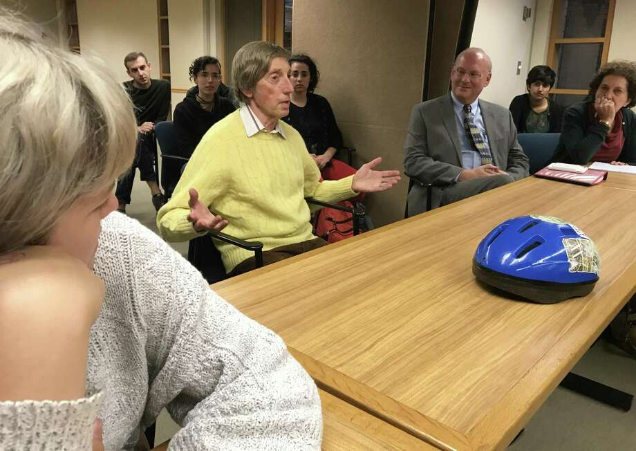 Mike Stern, a current Duncan Hotel tenant, speaks during a community discussion on Thursday, Oct. 12, at City Hall in New Haven. The discussion concerned the hotel's sale and displacement of tenants like Stern. Photo: Esteban L. Hernandez / New Haven Register