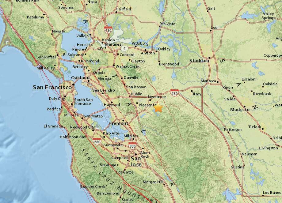 An earthquake with preliminary magnitude of 2.7 struck near Livermore, Calif., on Thursday, Oct. 12, 2017. Photo: USGS