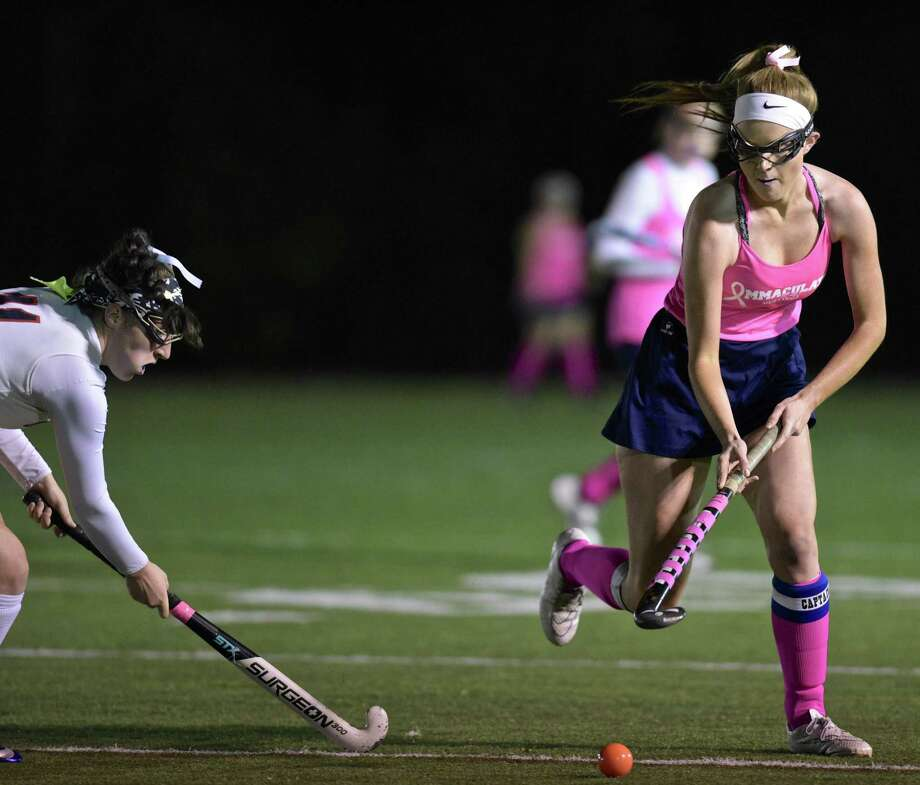 Girls field hockey game between New Fairfield and Immaculate high schools, on Thursday night, October 12, 2017, at Immaculate High School, in Danbury, Conn. Photo: H John Voorhees III / Hearst Connecticut Media / The News-Times