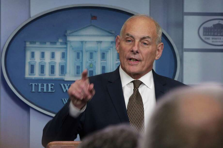 WASHINGTON, DC - OCTOBER 12:  White House Chief of Staff John Kelly speaks during a daily news briefing at the James Brady Press Briefing Room of the White House October 12, 2017 in Washington, DC. In a rare appearance at the news briefing Kelly stated he had no plans to resign or reason to believe he would be fired.  (Photo by Alex Wong/Getty Images) ORG XMIT: 775057856 Photo: Alex Wong / 2017 Getty Images