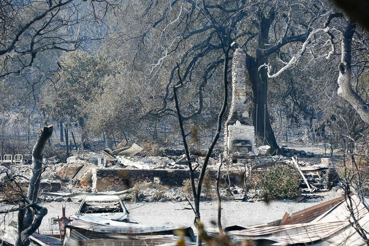 A possible White Rock Vineyards building burnt to the ground in the Atlas Fire in Napa, California on October 12, 2017