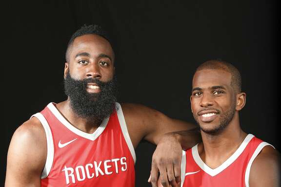 Houston Rocket's James Harden (13) and Chris Paul (3) during  media day on Monday, Sept. 25, 2017, in Houston. ( Elizabeth Conley / Houston Chronicle )