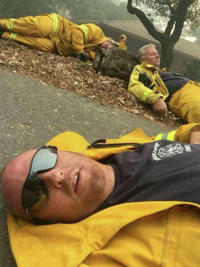 Kiara Evan shared this photo of exhausted first responders taking a break while fighting the Wine Country fires. Photo: Kiara Evans Via Frank Somerville