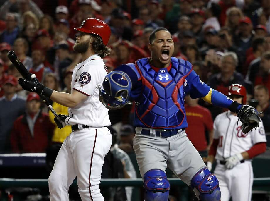 Chicago Cubs catcher Willson Contreras (40) reacts after Washington Nationals' Bryce Harper struck out for the final out as the Cubs beat the Washington Nationals 9-8 to to win baseball's National League Division Series, at Nationals Park, early Friday, Oct. 13, 2017, in Washington. (AP Photo/Pablo Martinez Monsivais) Photo: Pablo Martinez Monsivais, Associated Press
