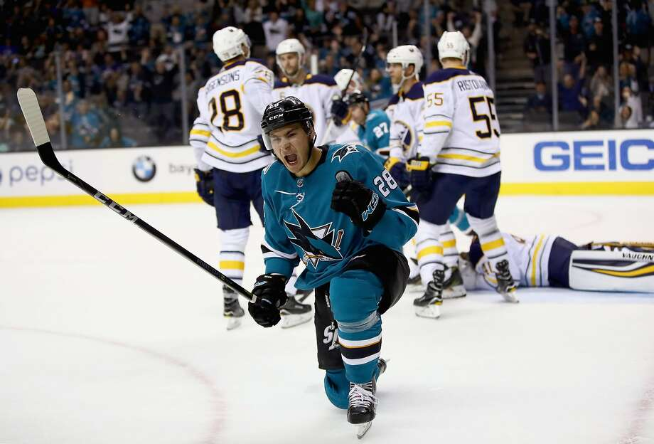 SAN JOSE, CA - OCTOBER 12:  Timo Meier #28 of the San Jose Sharks reacts after he scored on the Buffalo Sabres at SAP Center on October 12, 2017 in San Jose, California.  (Photo by Ezra Shaw/Getty Images) Photo: Ezra Shaw, Getty Images