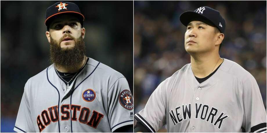 Split photo of Yankees' Masahiro Tanaka and Astros' Dallas Keuchel. Photo: AP/Getty