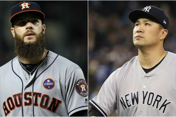 Split photo of Yankees' Masahiro Tanaka and Astros' Dallas Keuchel.