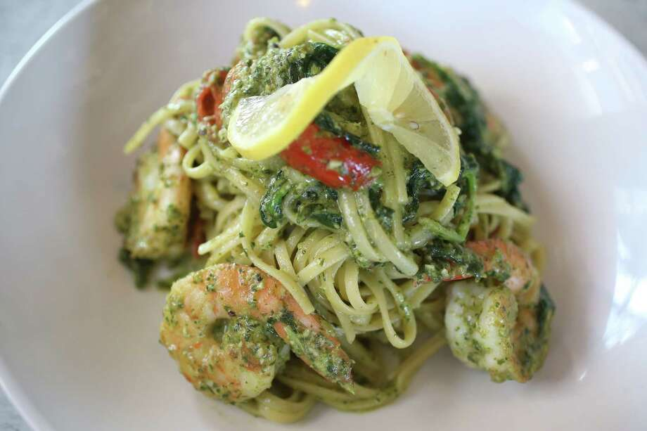 Texas Pecan Pesto Pasta with Shrimp at Dish Society 12525 Memorial Dr. opening Oct. 16. Photo: Steve Gonzales, Houston Chronicle / © 2017 Houston Chronicle