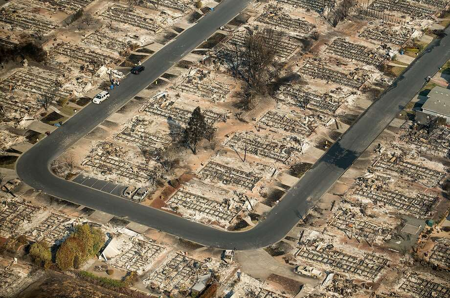 Homes leveled by the Tubbs fire line a neighborhood of Santa Rosa, Calif., on Wednesday, Oct. 11, 2017. Photo: Noah Berger, Special To The Chronicle
