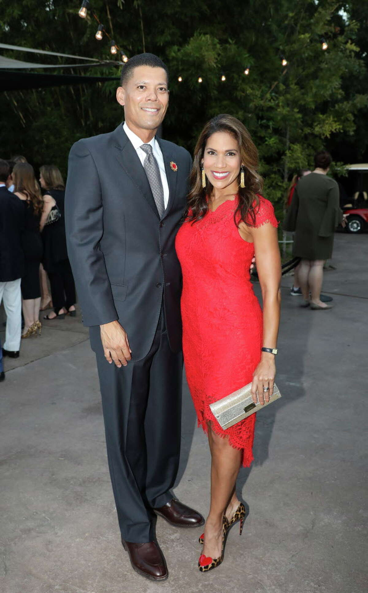 KPRC anchor Rachel McNeill, also the emcee of the night, and husband Dr. Wayne Franklin pose for a photo at Houston Zoo Gala Thursday, Oct. 12, 2017, in Houston.