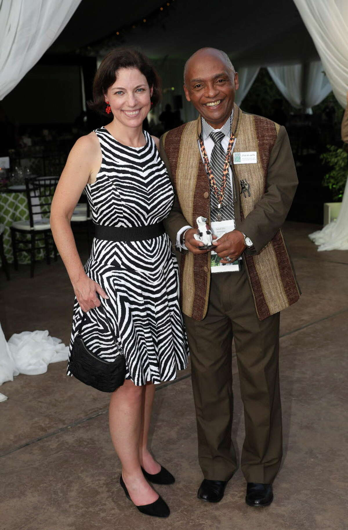 Cullen Geiselman and Dr. Jonah Ratzimbazafy, a speaker of the night, pose for a photo at Houston Zoo Gala Thursday, Oct. 12, 2017, in Houston.