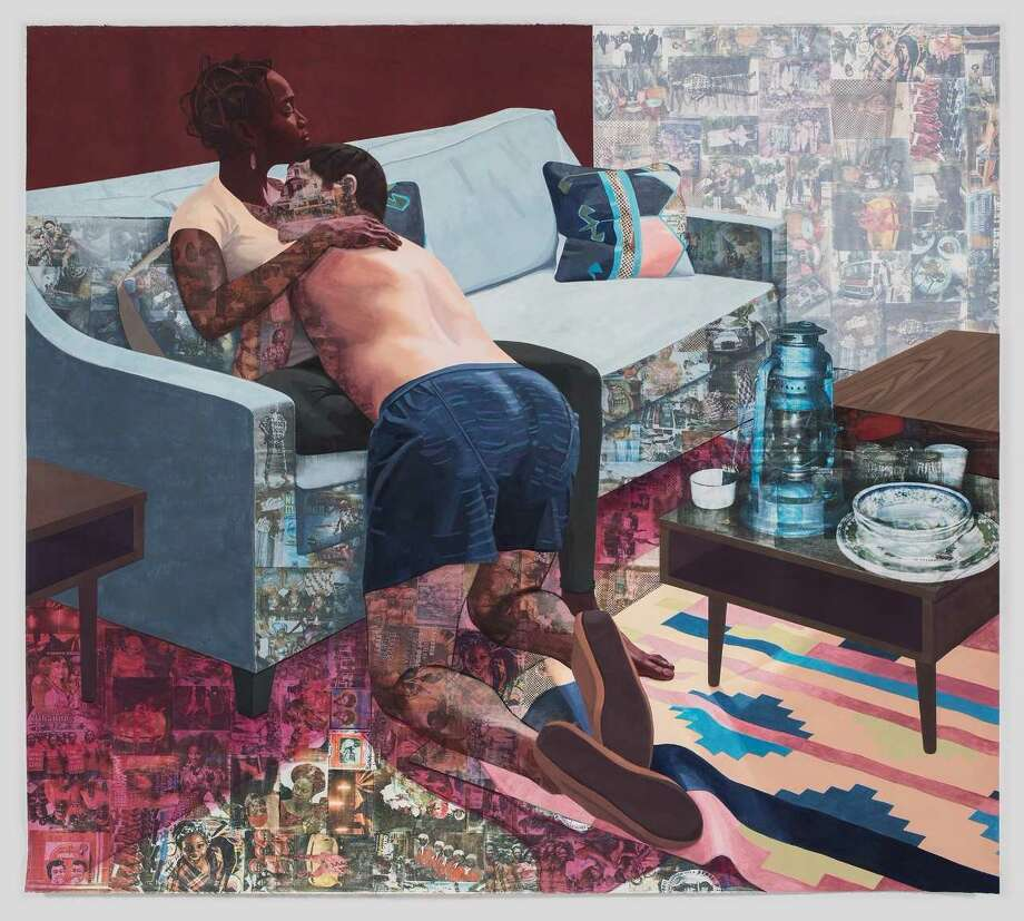 Njideka Akunyili Crosby, Ike Ya, 2016, acrylic, transfers, colored pencil, and charcoal on paper, 84 x 92 inches, Hammer Museum, Los Angeles
