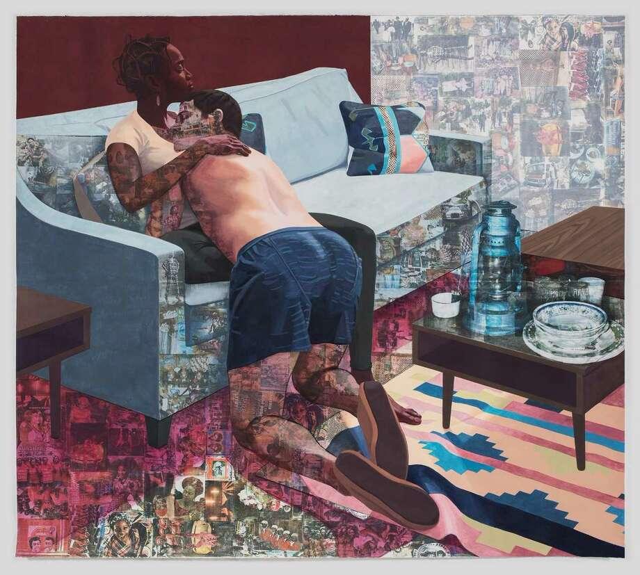 Njideka Akunyili Crosby, Ike Ya, 2016, acrylic, transfers, colored pencil, and charcoal on paper, 84 x 92 inches, Hammer Museum, Los Angeles