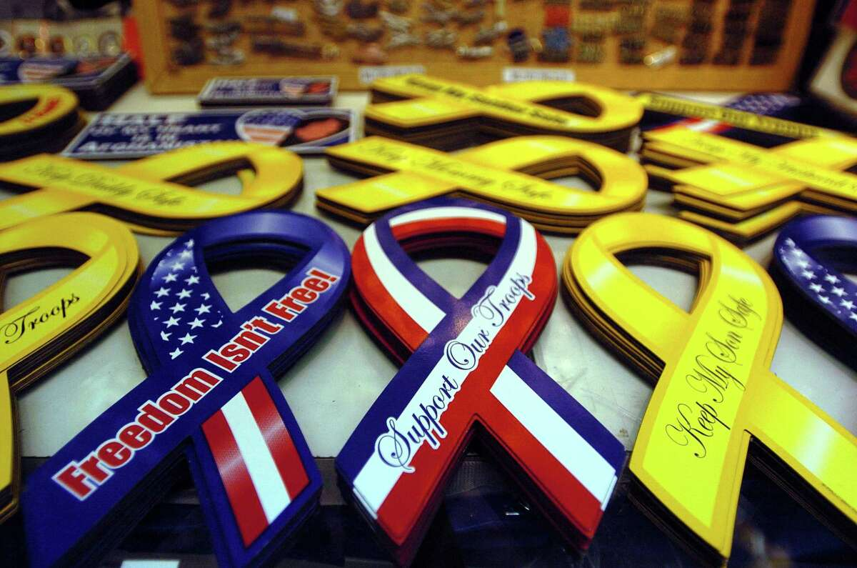 Ribbons supporting U.S. troops on sale at a kiosk in the Post Exchange at Fort Sam Houston in 2004. The building is now 46 years old and construction began this week on a $54 million replacement. (JERRY LARA STAFF )
