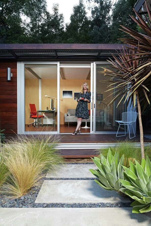 Chelsea Hadley Relaxes Outside Her Luxury Storage Shed Conversion In  Beverly Hills, Calif.