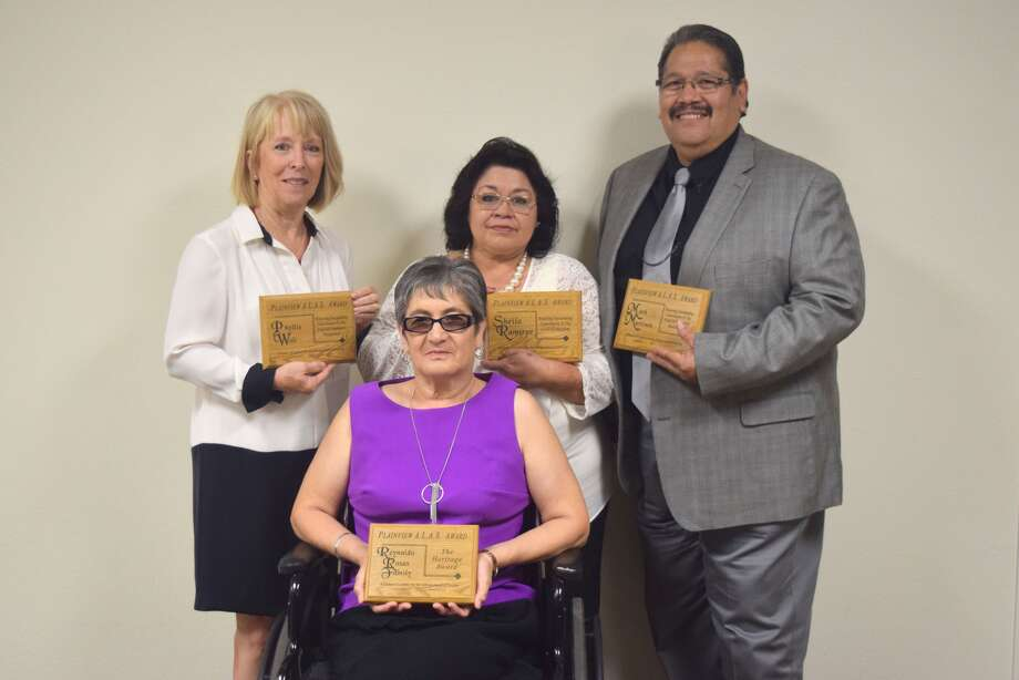 On Thursday, the Alliance of Leaders for the Advancement of Society held its fourth annual awards banquet at Wayland Baptist University. Keynote speaker was Dr. Miguel A. Levario of Texas Tech University. The night's honorees included the Reynaldo Rosas Sr. family which was named 2017 Pioneer Heritage Award winners, representing the family was mother, Irma Rosas (center). From left to right, Phyllis Wall was honored for Community Engagement; Sheila Ramirez for Education; and Covenant Health Community Wellness Director Mark Martinez was commended for his work to promote health in area. Not pictured were Julissa Chaves for Outstanding Youth and Judge Pat Hernandez who was honored for her work in the legal field.