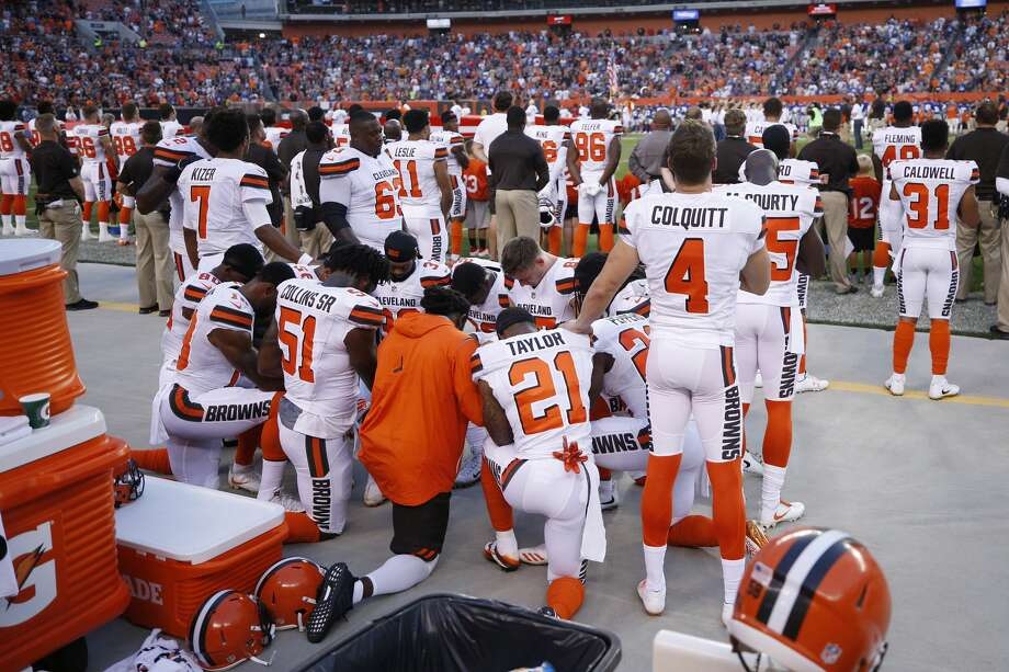 CLEVELAND, OH - AUGUST 21: A group of Cleveland Browns players kneel in a circle in protest during the national anthem prior to a preseason game against the New York Giants at FirstEnergy Stadium on August 21, 2017 in Cleveland, Ohio. (Photo by Joe Robbins/Getty Images) Photo: Joe Robbins/Getty Images