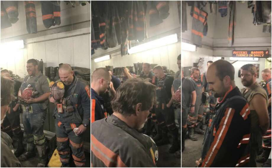"A group of coal miners in West Virginia have responded to NFL players kneeling during the national anthem with their own viral video showing them standing while one of their colleagues belts out ""The Star-Spangled Banner."" Photo: Shane Wriston"