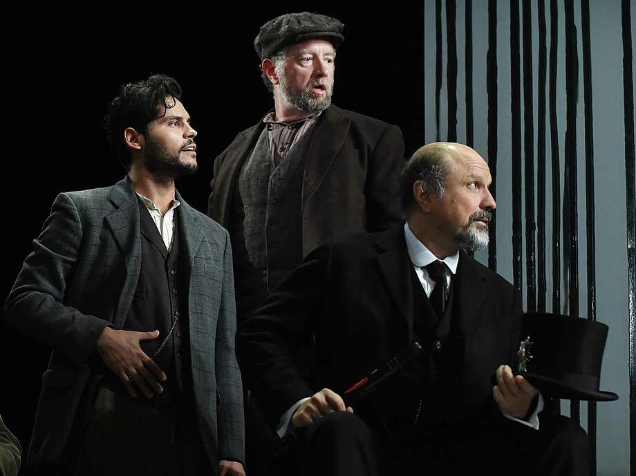 "Bobby Roman as Hovstad, Mike Boland and Enrico Colantoni as Mayor Peter Stockmann perform during dress rehearsal in ""An Enemy of the People"" by Henrik Ibsen, Wednesday, Oct. 4, 2017, at the Yale Repratory at 222 York Street in New Haven. Directed by James Bundy, performances run from October 6 - October 28, 2017. Opening night is Thursday, October 12, 2017. Photo: Catherine Avalone / Hearst Connecticut Media / New Haven Register"