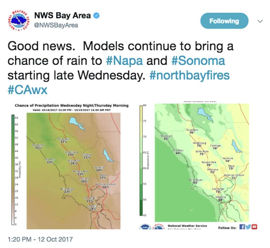 Rain is in the forecast for Northern California for Wednesday night and Thursday, according to the National Weather Service. Photo: National Weather Service