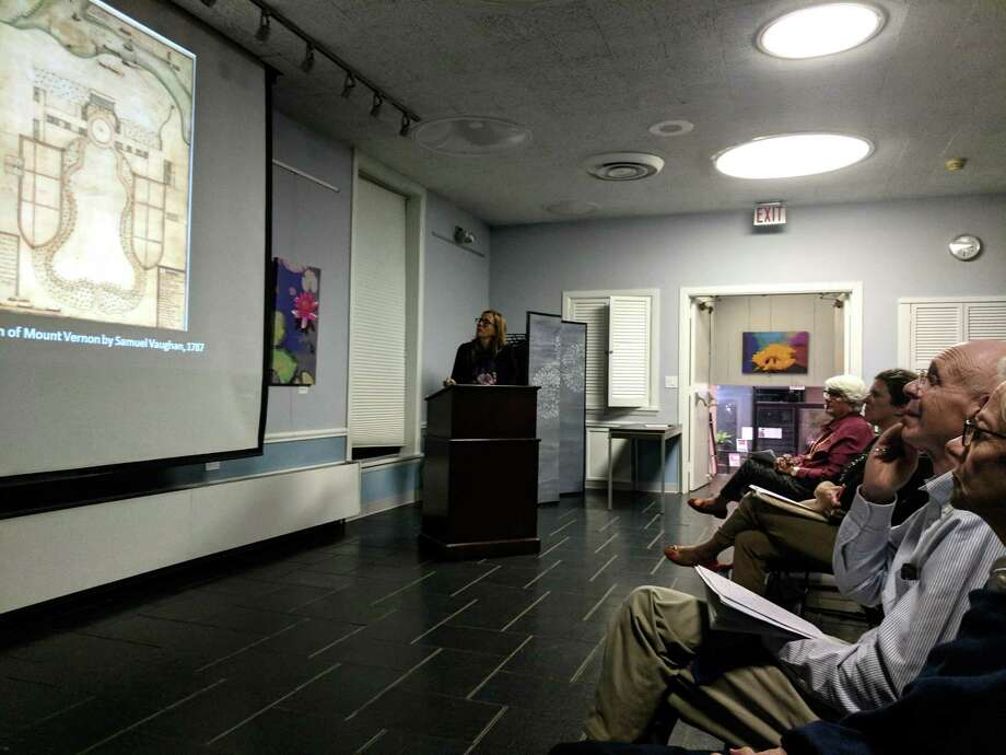 """Andrea Wulf, author of """"Founding Gardeners,"""" spoke to a group at the Garden Education Center of Greenwich Tuesday night about the book and, said the men Americans know as the Founding Fathers were farmers and gardeners before that. Photo: Jennifer Turiano / Hearst CT Media"""
