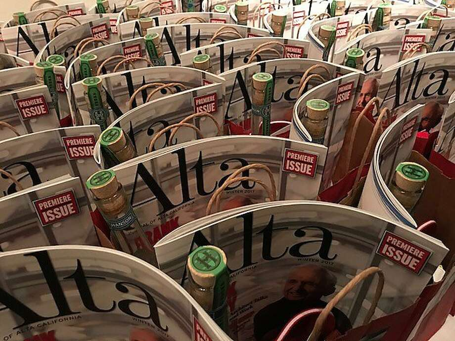 "Gift bags at party for new quarterly ""Alta"" Photo: Leah Garchik, San Francisco Chronicle"