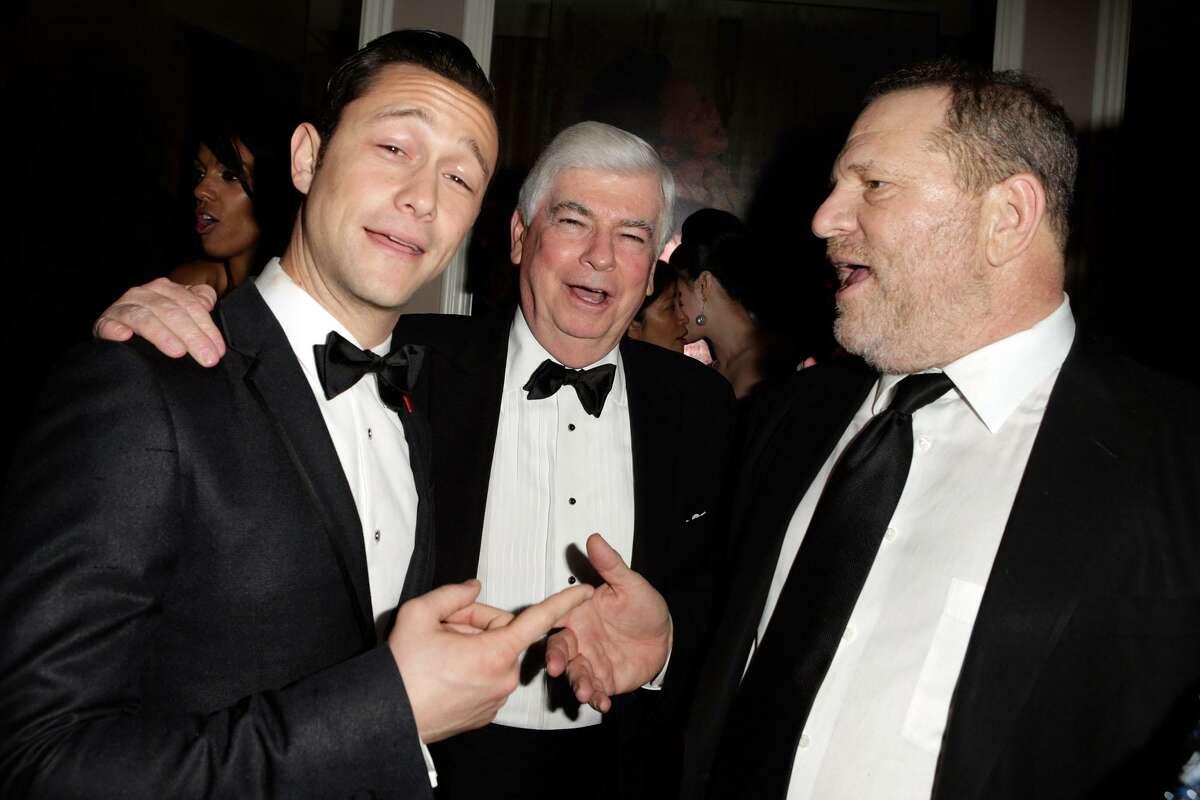 Joseph Gordon-Levitt, Chris Dodd and Harvey Weinstein attend the 2013 Vanity Fair Oscar Party hosted by Graydon Carter in West Hollywood, Calif.