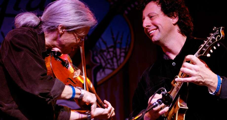 A rare appearance together by Darol Anger and Mike Marshall Saturday night, Oct. 14 is the latest entry in the long-running Fire In The Kitchen Concerts series at North Madison Congregational Church. Photo: Contributed Photo