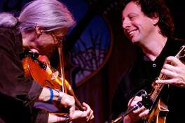 A rare appearance together by Darol Anger and Mike Marshall Saturday night, Oct. 14 is the latest entry in the long-running Fire In The Kitchen Concerts series at North Madison Congregational Church.