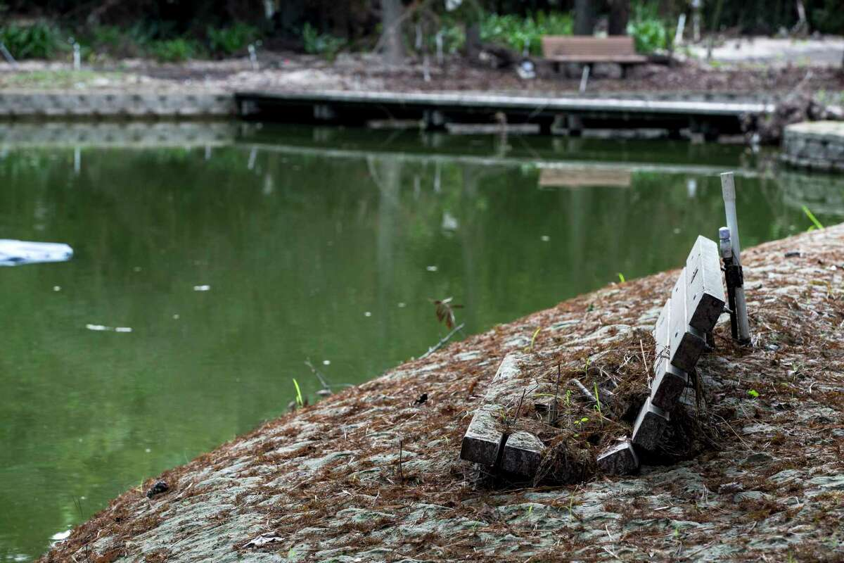 Mud and silt are piled on the banks of Story Lake, rising to the bottom of a park bench, in the aftermath of flooding from Hurricane Harvey, at Mercer Arboretum and Botanic Gardens on Thursday, Sept. 28, 2017, in Spring. Harvey devastated the gardens, washing away much of the foliage. ( Brett Coomer / Houston Chronicle )