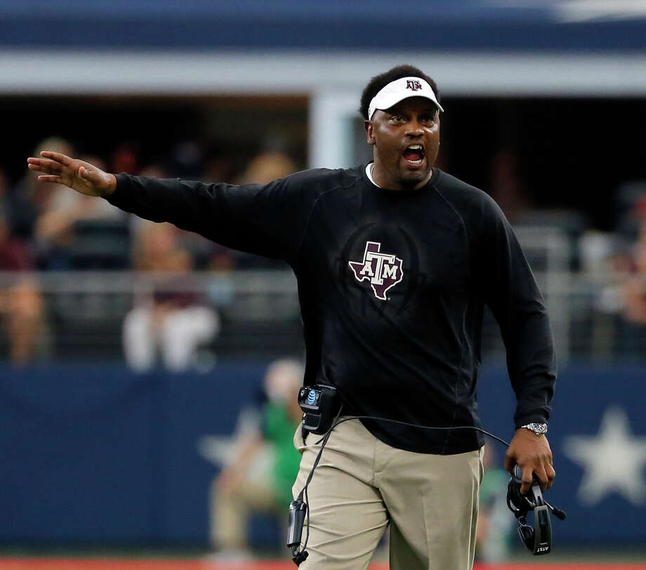 FILE - In this Sept. 23, 2017, file photo, Texas A&M head coach Kevin Sumlin talks to an official, not pictured, after a call during an NCAA college football game against Arkansas, in Arlington, Texas. Florida hosts Texas A&M on Saturday. (AP Photo/Tony Gutierrez, File) Photo: Tony Gutierrez, STF / Copyright 2017 The Associated Press. All rights reserved.