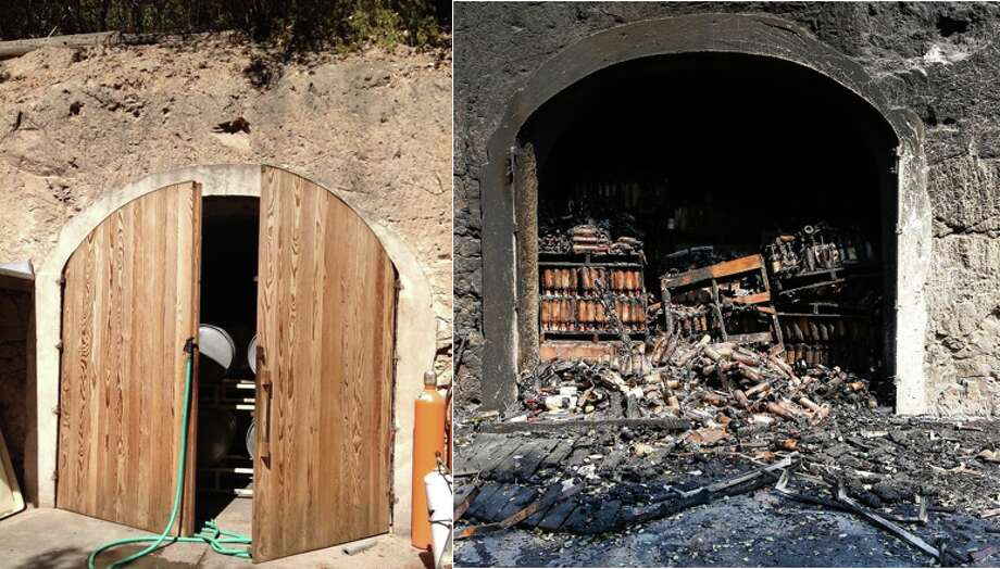 White Rock VineyardsBefore: The cellar at White Rock Vineyards on September 28, 2012.After: Hundreds of wine bottles are damaged and burned from inside the cellar at White Rock Vineyards on October 12, 2017 Photo: Manda Bear B./Yelp, Amy Osborne/Special To The Chronicle