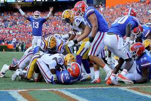 GAINESVILLE, FL - OCTOBER 07:  Lamical Perine #22 of the Florida Gators rushes for a touchdown during the game against the LSU Tigers at Ben Hill Griffin Stadium on October 7, 2017 in Gainesville, Florida.