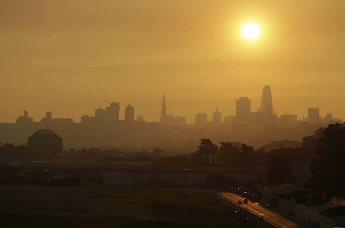 Smoke and haze from wildfires hovers over the skyline Thursday, Oct. 12, 2017, in San Francisco. Gusting winds and dry air forecast for Thursday could drive the next wave of devastating wildfires that are already well on their way to becoming the deadliest and most destructive in California history.