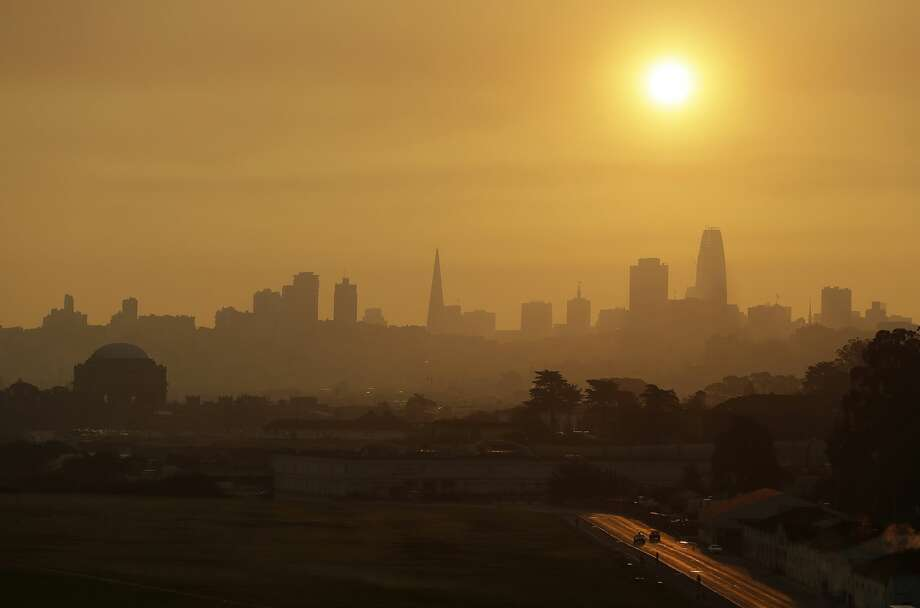 Smoke and haze from wildfires hovers over the skyline Thursday, Oct. 12, 2017, in San Francisco. Gusting winds and dry air forecast for Thursday could drive the next wave of devastating wildfires that are already well on their way to becoming the deadliest and most destructive in California history. Photo: Eric Risberg/AP