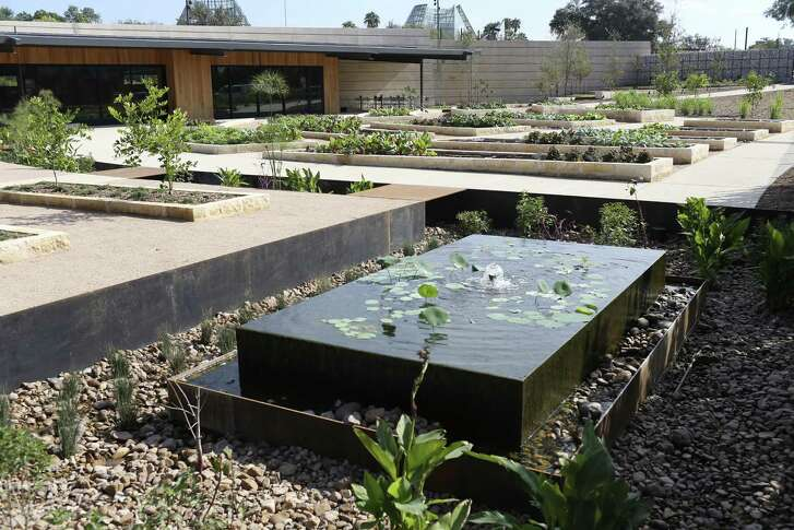 A new water feature in the Culinary Garden uses recycled water from the Botanical Garden's air-conditioning system.