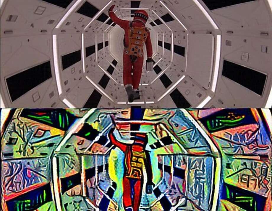 """2001: A Picasso Odyssey"" features local artist and Adobe engineer Bhautik Joshi interpreting scenes from Stanley Kubrick's film. Photo: Photo Comparison Courtesy Bhautik Joshi."