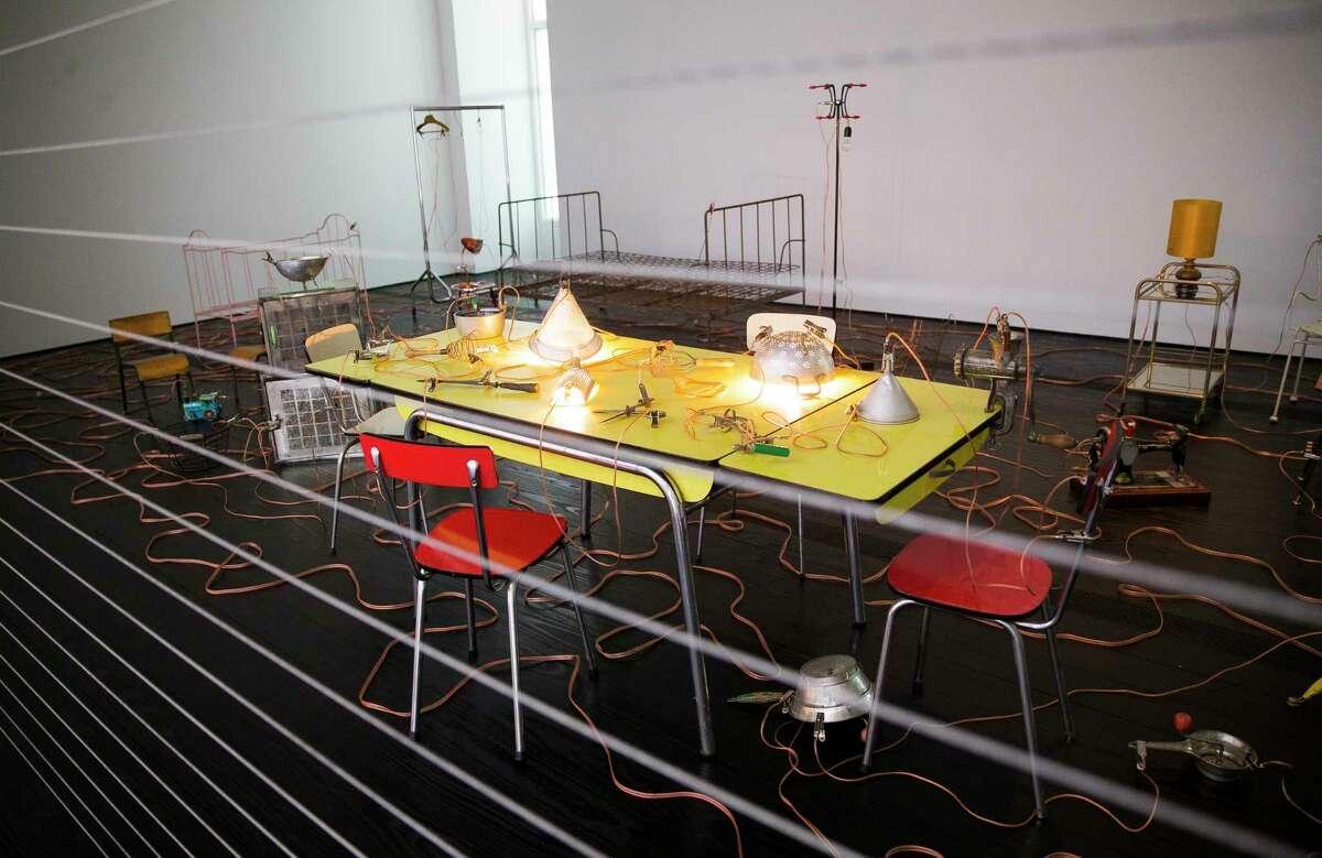 "Artist Mona Hatoum's exhibition ""Terra Infirma"" closes Feb. 25."