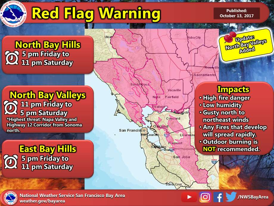 A red-flag warning for the North Bay mountains, the East Bay hills and the Diablo Range was called due to gusty winds, low humidity and higher temperatures that, according to the National Weather Service, could exacerbate already extreme fire conditions. Photo: NOAA