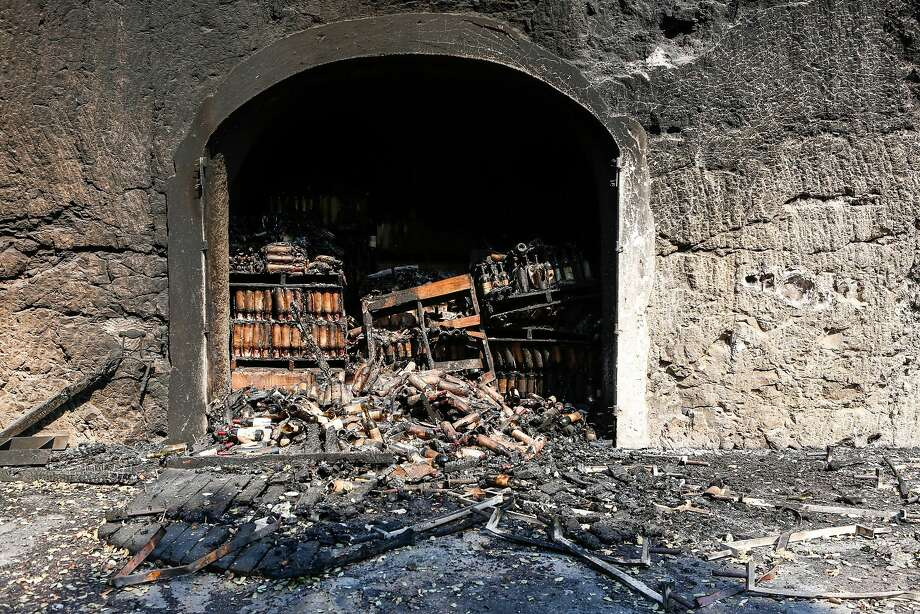Hundreds of wine bottles are damaged and burned from inside the cellar at White Rock Vineyards in Napa, California on October 12, 2017 Photo: Amy Osborne, Special To The Chronicle