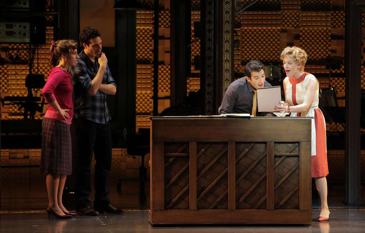 """L-R, Jessie Mueller as Carole King, Jake Epstein as Gerry Goffin, Jarrod Spector as Barry Mann, and Anika Larsen as Cynthia Weil in a dress rehearsal of, """"Beautiful: The Carole King Musical"""" at the Curran Theater in San Francisco, Calif., on Monday, September 23, 2013."""
