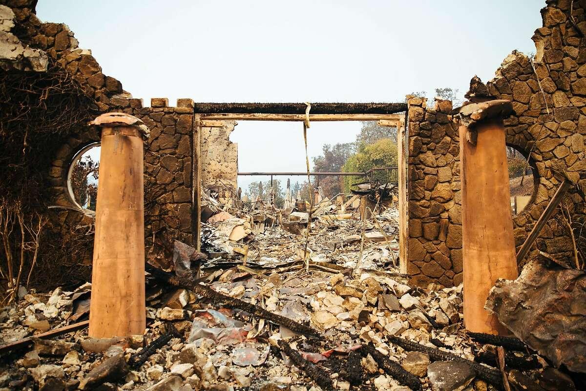 Signorello Estate on Napa's Silverado Trail is left in ruins in Napa, Calif. Wednesday, October 11, 2017.