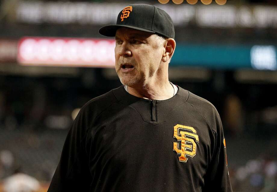 San Francisco Giants' manager Bruce Bochy reacts to a call during the seventh inning of a baseball game, Monday, Sept. 25, 2017 in Phoenix. Giants won the game 9-2 over the Diamondbacks.(AP Photo/Darryl Webb) Photo: Darryl Webb, Associated Press