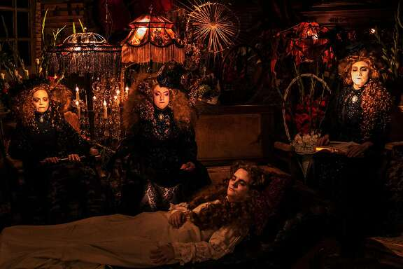 """Three mourners (from left: Annie Larson, Bruna Palmeiro and Iris Stone) watch over the body of a young woman (Haley Roth-Brown) in """"The Mariner"""" by�Third Cloud from the Left."""