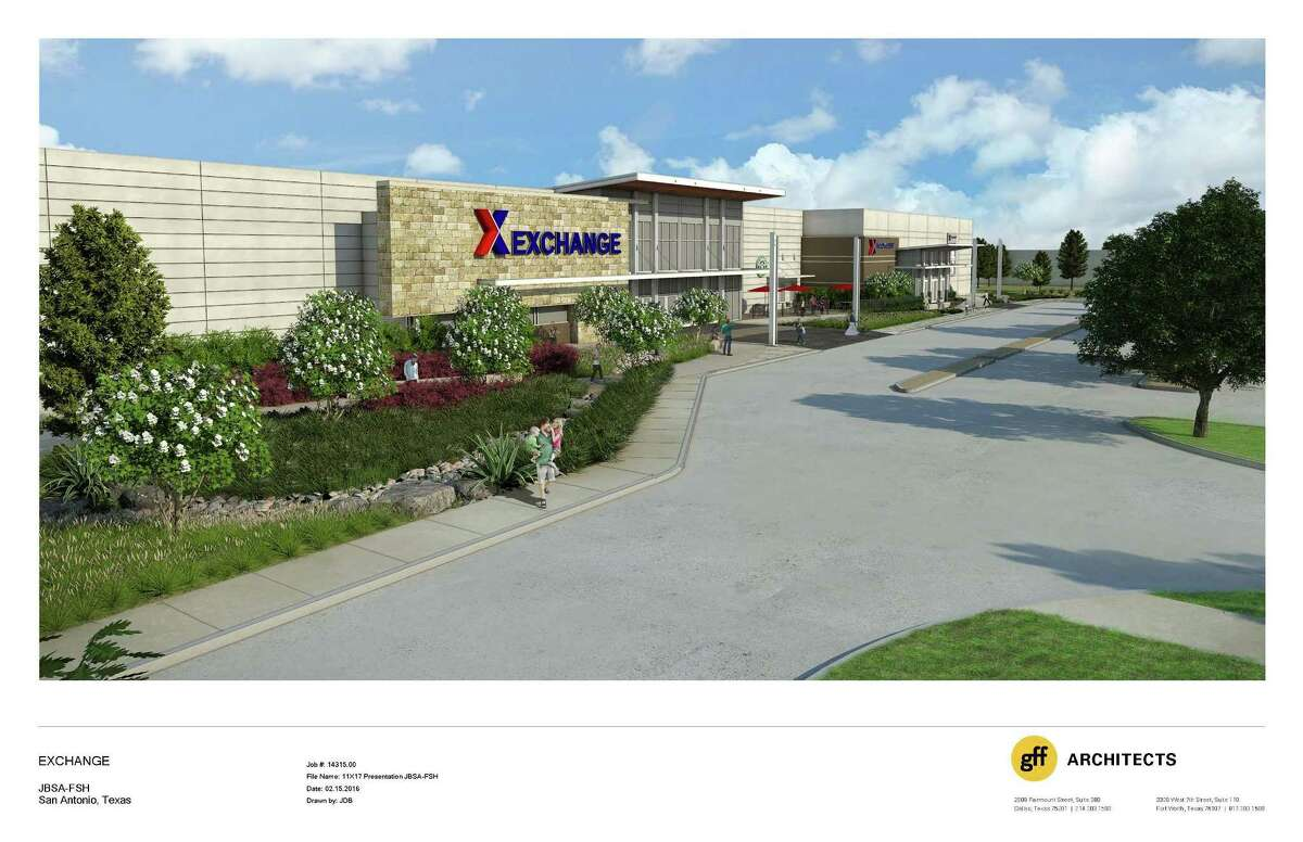 Artist's rendering of the new post exchange at Joint Base San Antonio-Fort Sam Houston. Work on the $54 million project began Thursday.