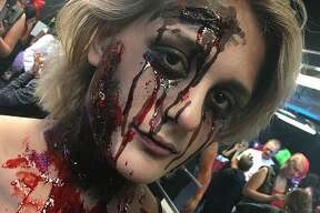 A gory-looking cast member at Fright Haven.
